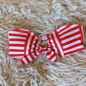Red and white striped bikini top Forever21 M New